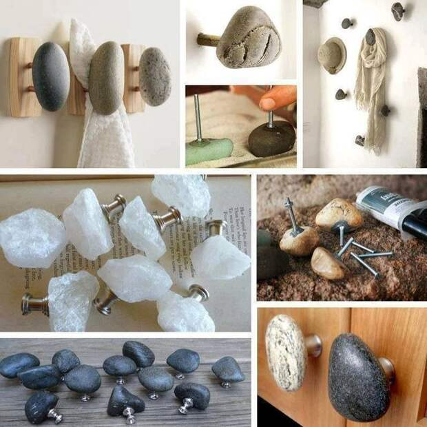 Обычные ручки и вешалки можно украсить природными камнями