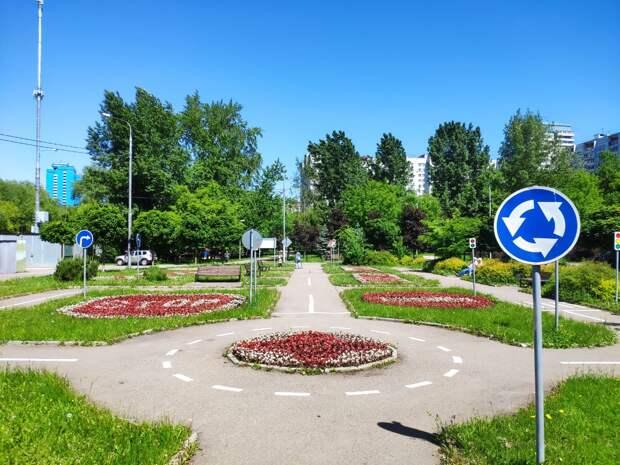 На Яблочкова появились цветники в виде дорожных знаков