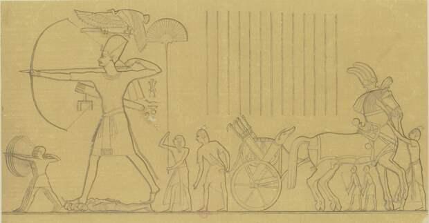 Мединет-Абу. Барельеф наружной стены северного фасада дворца