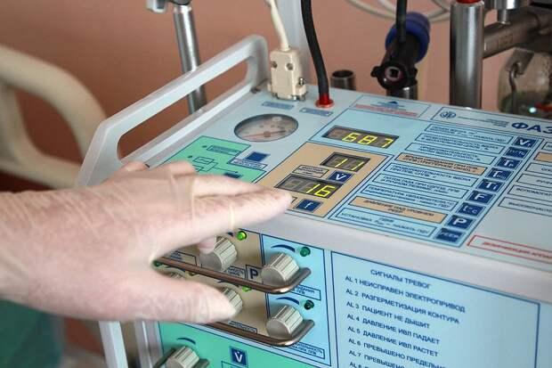 Аппарат искусственной вентиляции легких в палате интенсивной терапии в больнице.