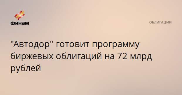 """""""Автодор"""" готовит программу биржевых облигаций на 72 млрд рублей"""