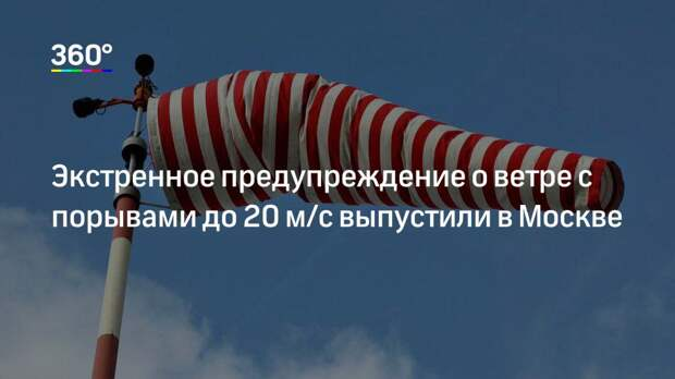 Экстренное предупреждение о ветре с порывами до 20 м/с выпустили в Москве