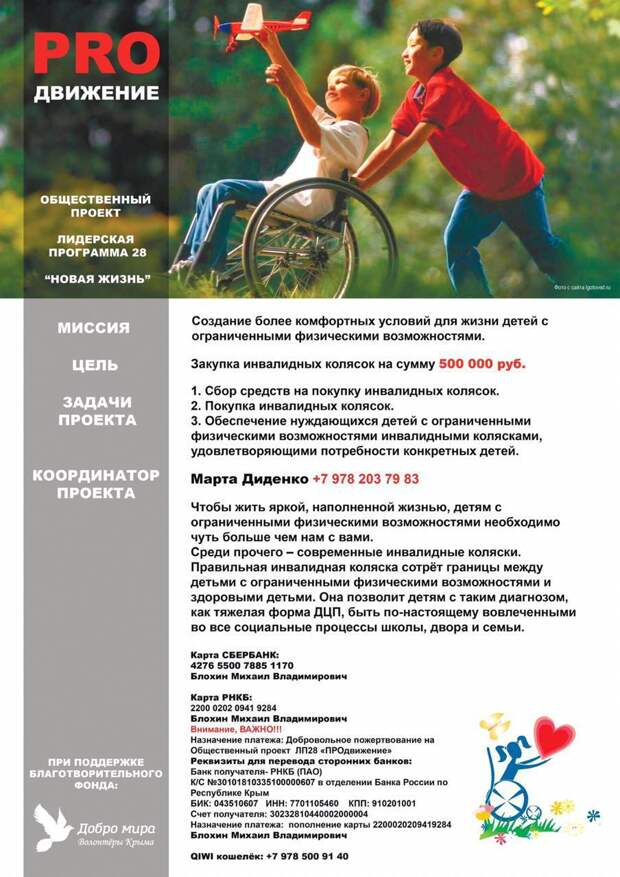 В Крыму собирают деньги для покупки колясок детям-инвалидам