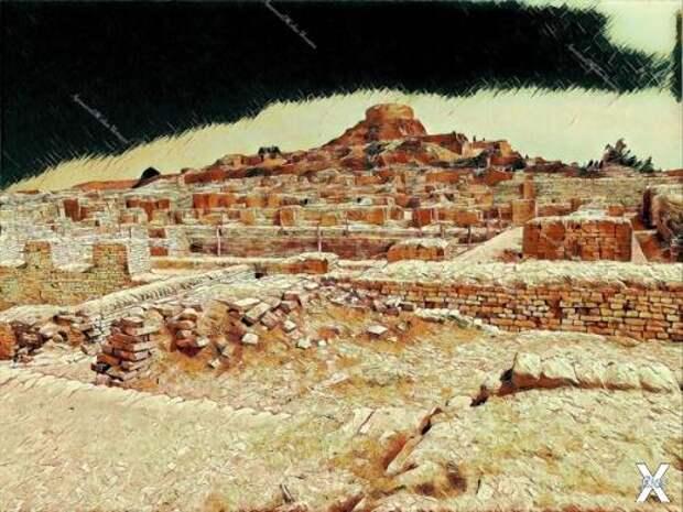Руины Мохенджо-даро на рисунке Лукинс...