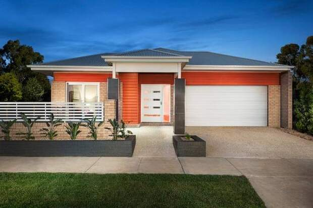 Красивое сочетание цвета крыши и фасада дома - фото красного дома