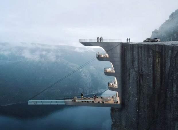 Бутик-отель будет встроен в отвесную скалу утеса Preikestolen (концепт Norwegian Cliff Hotel). | Фото: interestingengineering.com.