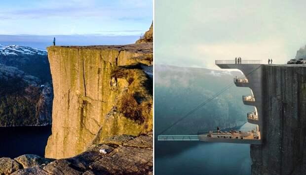 В Норвегии появится отель в скале с прозрачным бассейном, свисающим над пропастью