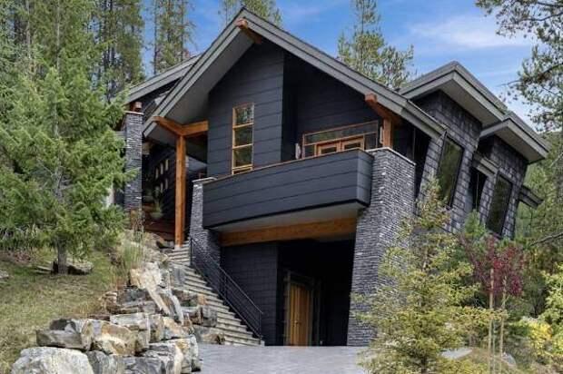 Оригинальные цвета фасадов домов - фото в черном цвете