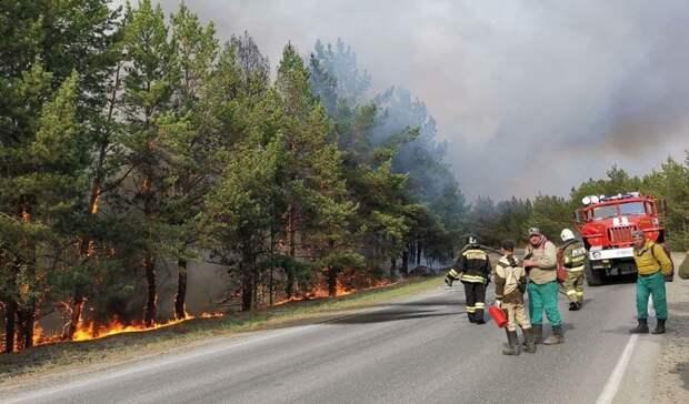 Дорога около Андреевского озера перекрыта из-за сильного пожара