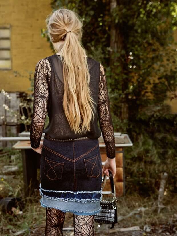 Джинсовая юбка с ярусами