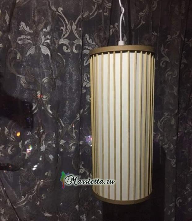 Светильник своими руками - из картона и шашлычных палочек (25) (493x570, 173Kb)