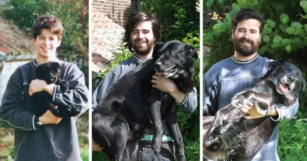 С первого дня и до последнего... Прощай, друг! до и после, друзья, собаки, фото