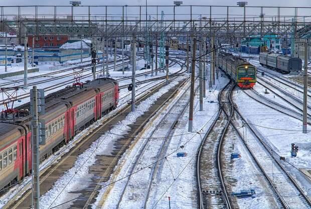 Железная Дорога, Зима, Поезд, Узел, Движение