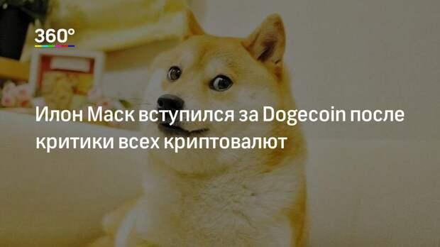 Илон Маск вступился за Dogecoin после критики всех криптовалют