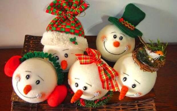 мячики снеговики