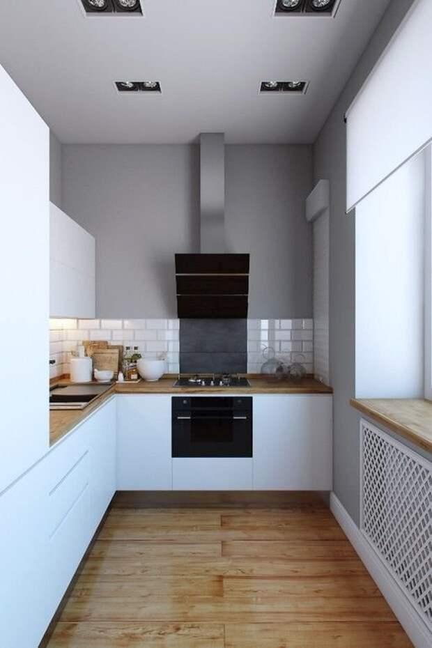11. Используйте светлые оттенки, чтобы комната казалась объемнее дизайн, идеи дизайна, интерьер, кухня, маленькая кухня