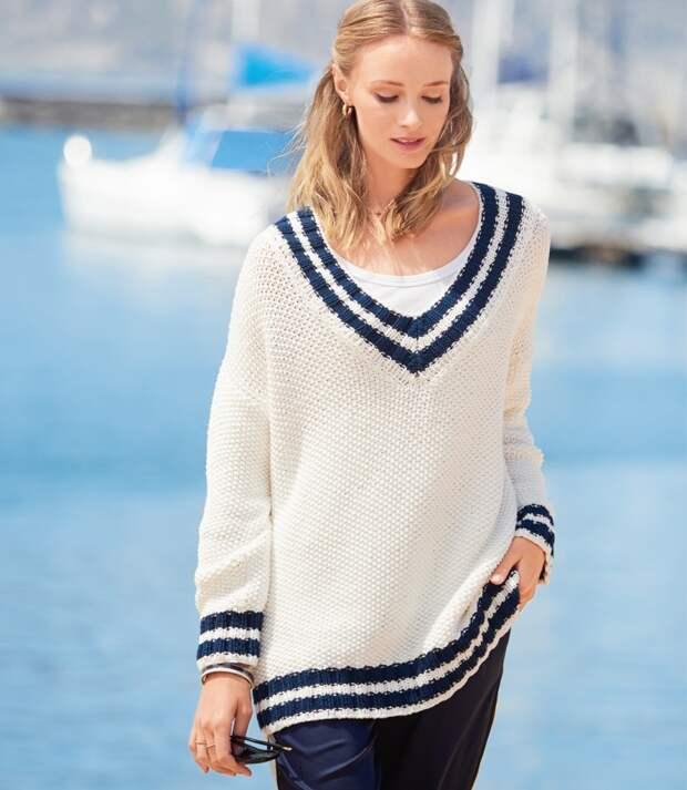 Пуловер оверсайз в морском стиле Diy