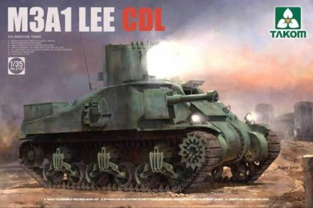 Американский танк M3A1 Lee с прожекторной установкой.   Фото: scalemates.com.