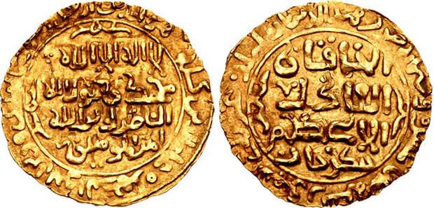 Золотой динар Чингисхана, датированный 1221 годом.