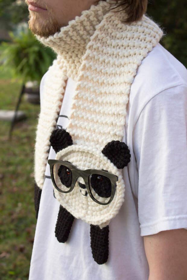 Панда-шарф для хипстера вязание, новый год, подарки