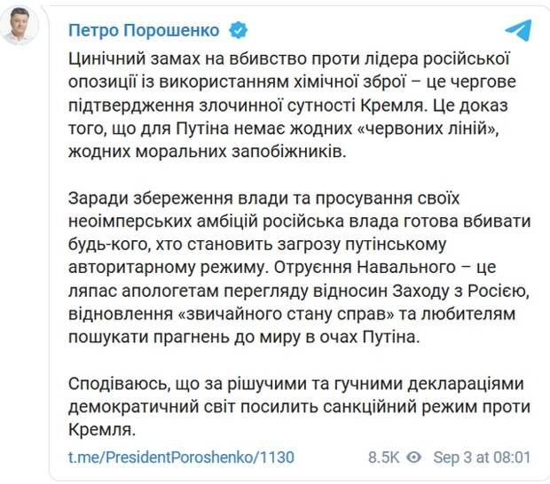Порошенко обвинил Путина в отравлении Навального