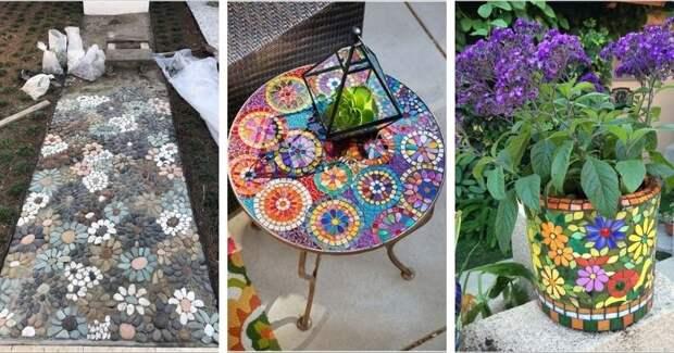 15 художественных способов создания садовой мозаики
