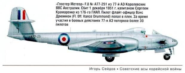 Глостер Метеор F.8 сбитый С.М.Крамаренко 1.12.1951 г.