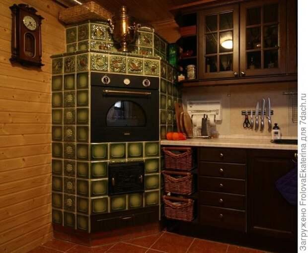 Современная русская печь на кухне. Фото с сайта dizaka.ru