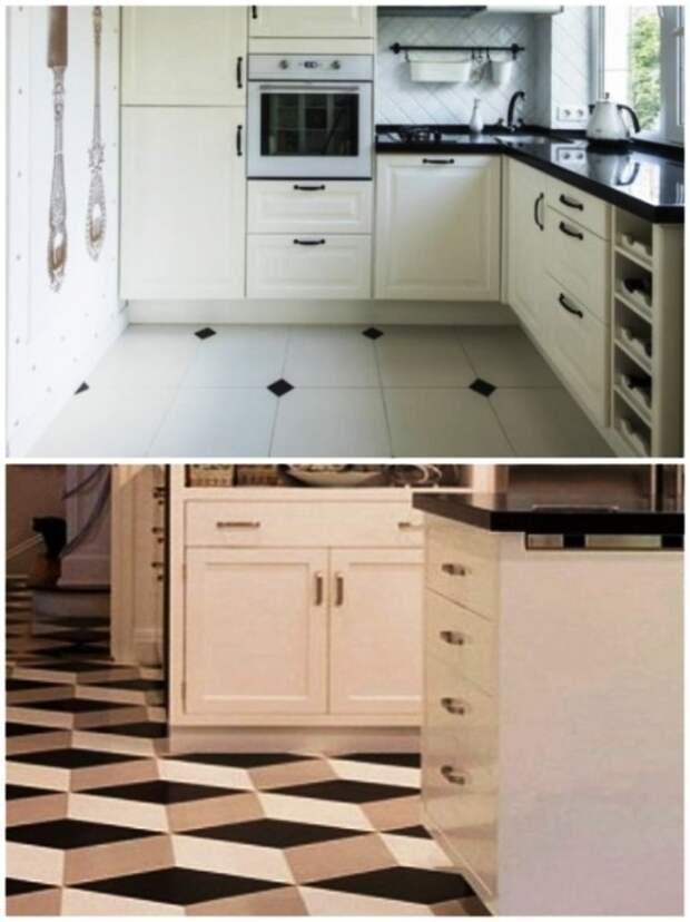 Напольная плитка тоже сможет украсить интерьер маленькой кухни и кардинально изменить пространственное восприятие. | Фото: mjenterprises.co.