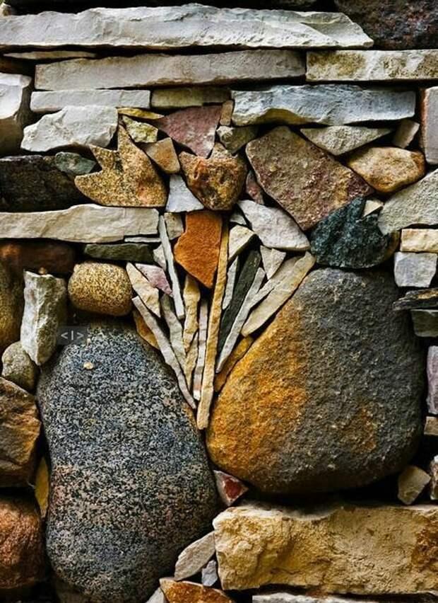 Узоры из природного камня Фабрика идей, дорогие, забор, интересное, камни, кирпич, красиво