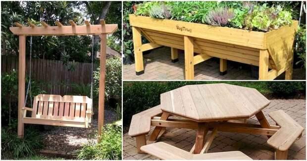 Удивительные проекты на открытом воздухе: идеи дизайна деревянной мебели