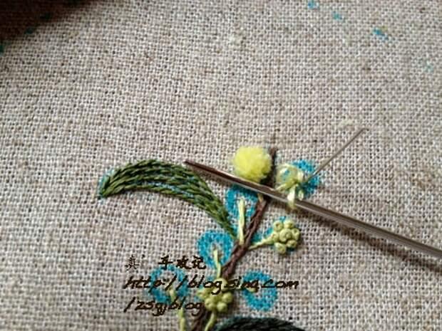 Фото мастер-класс по вышивке веточки мимозы (3) (450x338, 191Kb)