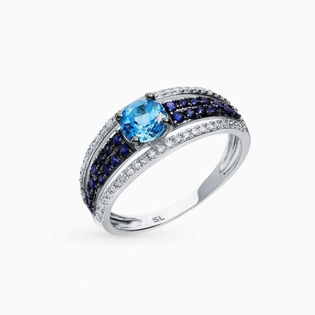 Кольцо SL, белое золото, сапфиры, топаз, бриллианты
