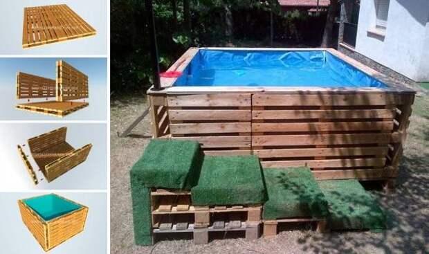 Фото бассейнов во дворе - самодельный бассейн из поддонов