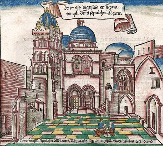 Храм на гравюре по дереву Бернарда фон Брейденбаха, 1484