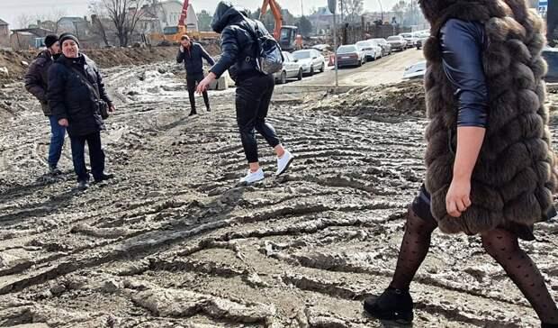 Всплошную грязь превратился мост наМалиновского вРостове