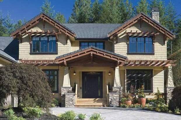 Покраска домов фасадов 2016 - стильные сочетания цвета фасада и крыши
