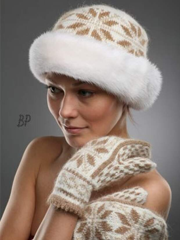 Великолепные вязаные шапочки с мехом