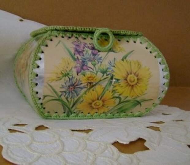 Treasure Box от Vintage поздравительные открытки - крючком коробка от сезонной карты.  $ 11.95, через Etsy.