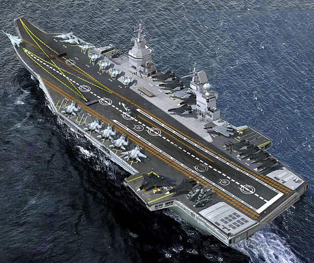 """Ведущий разработчик: на авианосце проекта """"Шторм"""" смогут базироваться до 90 самолетов и вертолетов"""