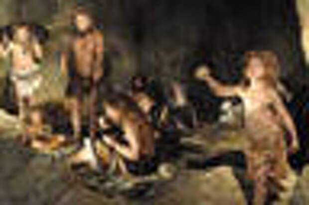 Неандертальцы и люди в одной пещере глазами художника. Изображение с сайта eva.mpg.de