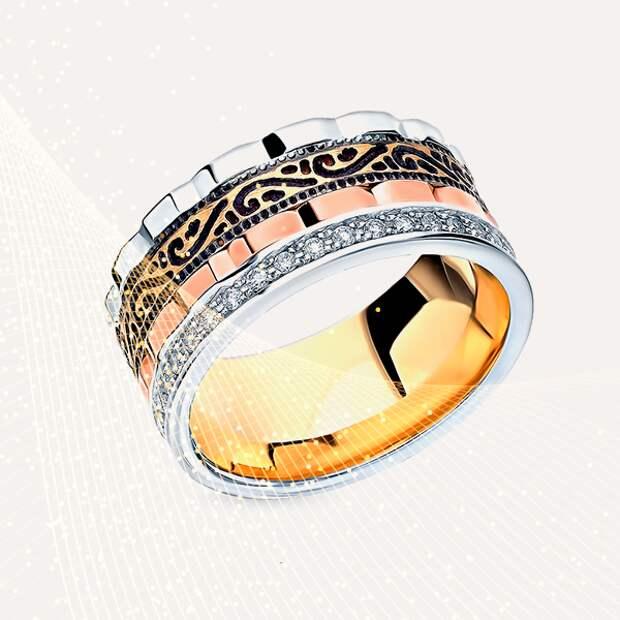Кольцо «Юверос», белое и розовое золото, бриллианты