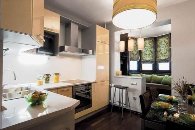 Совмещение кухни и лоджии