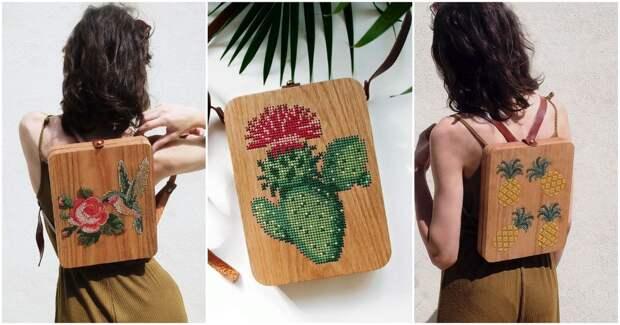 Мастерица из Турции превращает дерево в оригинальные сумки, которые затем украшает вышивкой