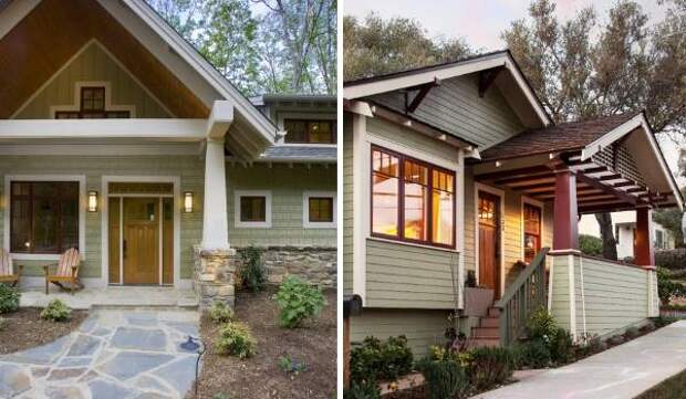 В какой цвет покрасить фасад дома - фото светло зеленого дома