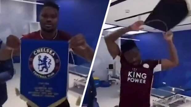 Футболиста «Лестера» Амарти раскритиковали за брошенный на пол вымпел «Челси»: видео