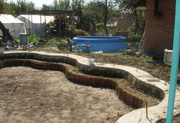 Строительство красивого голубого бассейна на дачном участке своими руками