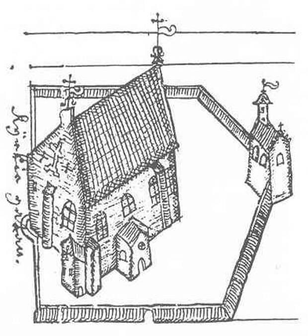 Кафедральный собор с колокольней в 1642 году