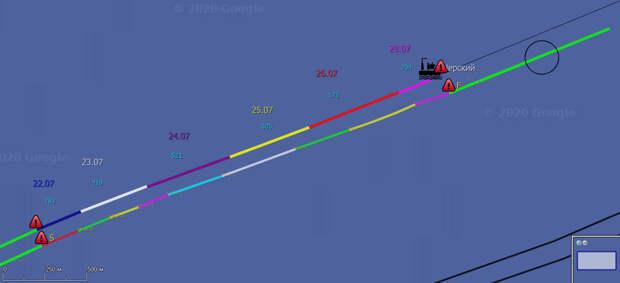 СП-2 26.07: Черский почти завершил работу на Проекте, Фортуне 3,5 км до пересечения с СП-1.