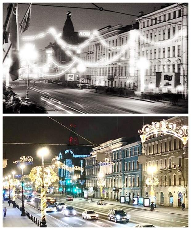 Вечерний Невский проспект1985 и 2021 год.